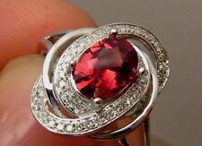 Quality Natural VVS Red Spinel and Diamond Ring 14k White Gold Free Re Size