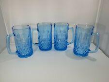 Vintage KIG Indonesia Blue Presscut Glass Mug, Diamond Pattern Tall mugs, 20 oz
