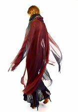 Vintage Karl Lagerfeld Chiffon Cowl Neck Cape-Red & Gray-Ombre-Size 36/Small