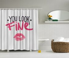 Humorous You Look Fine Graphic Shower Curtain Funny Pink Lips Kiss Bath Decor