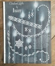 1955 BOGOFF Christmas lights necklace earrings pin vintage jewelry ad