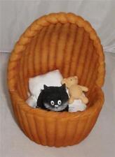 DUBOUT COSY NEST KITTEN & TEDDY IN A CRIB BASKET FIGURE Cats Kittens Cat Feline