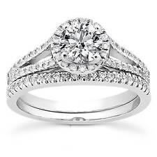 7/8ct Redonda Halo Anillo De Compromiso De Diamante Bodas Solitario Set 14K Oro Blanco
