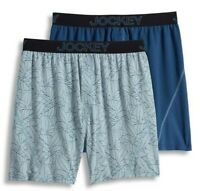 Men's Jockey 2-Pack Boxers Briefs No Bunch Boxer Comfort Stretch Blue Underwear