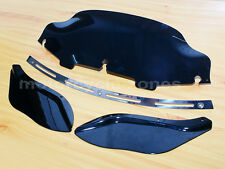 """Slotted Stock Batwing Trim + 6"""" Black Windshield+Side Air Wing Harley Davidson"""