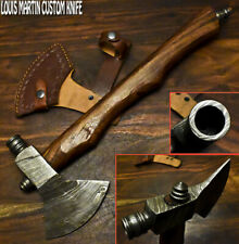 Louis Martin Custom Made Damascus Steel Walnut Wood Hunting Axe Knife with Pipe