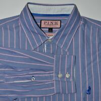 Thomas Pink Oxford Casual Shirt Size Medium w/ Fox Logo Striped
