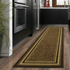 Bordered Design Brown 2ft x 5ft Runner Rug 100% Nylon Antimicrobial Non-Skid Rug