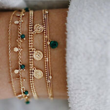 6Pcs Boho Bracelet Set Women Blue Water Drop Beads Alloy Chains Bangle Jewelr_QA