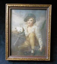 Antique Boy with BUNNY RABBIT lithograph Art print-Gold gilt Carved Wood Frame