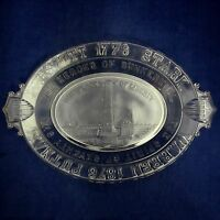 Antique EAPG Commemorative Bread Dish 1776-18776 The Heroes of Bunker Hill