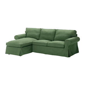 NEW IKEA EKTORP Loveseat Sofa With Chaise Lounge Cover Slipcover - Svanby Green