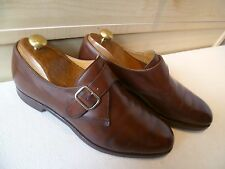 Crockett & Jones for Gordon Scott vtg monk UK 8 42 brown plain front buckle shoe