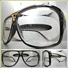 53acd28bae Men s Classic RETRO HIP HOP Rapper Style Clear Lens EYE GLASSES Black Gold  Frame
