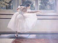 Quadro Dipinto a Mano ballerina Olio Su Tela scena danza 60x90 con telaio unico
