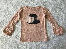 Persnickety Sz 6 Pink Bubble Cuff Top Hat Applique Long Sleeve EUC