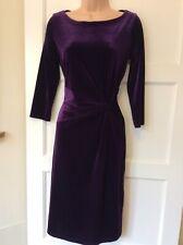 M&S Purple Velvet Dress Size 10 Fitted Shift