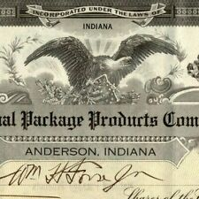 Vintage 1923 Stock Certificate - National Package Products - Anderson, IN Eagle