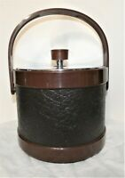 Vintage Atapco Ice Bucket With Handle Insulated Faux Leather Design MCM Mad Men