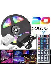 5M RGB 5050 Waterproof LED Strip light SMD 44 Key Remote 12V US Power Full Kit