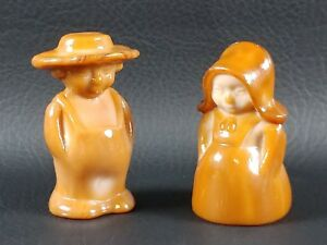 #1 MILK CHOCOLATE ELI & SARAH Boy Girl Boyd Glass Pair Amish Couple 3-19-96 NOS