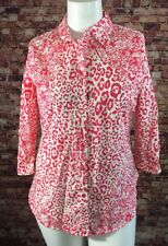 Investments Pink White Floral Wrinkle Free Shirt Blouse Top Size 12