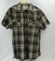 Urban Pipeline Blue Tan Brown Plaid Short Sleeve Button Front Shirt Mens XXL 2XL
