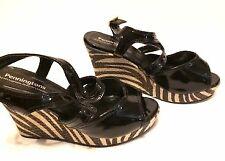 Penningtons Shoes Wedge Sandals Shinny Black Stripe like Zebra Women's  size 7