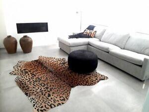 Leopard Cowhide Rug Size: 7X 6 ft Jaguar on Beige Background Brazil Cowhide Rug