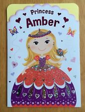 "'Amber' Little Sparklers Personalised Princess Birthday Card - 6.75x4.75"" Named"
