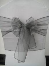 50x Silver Grey Organza Chair Sashes Birthday Wedding Banquet Party Decorations