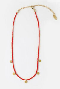 Orelia Red Seed Bead Collar Length Necklace With Gold Dangling Coins