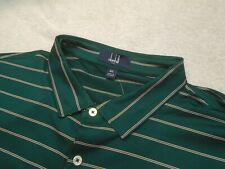 Dunhill Golf Performance Fabric Dark Green Striped Polo Golf Shirt NWT XXL $110