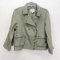 Ann Taylor Loft Jacket Moto Utility Olive Green Textured Sz PM Petite