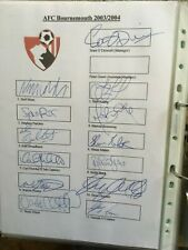 AFC Bournemouth Signed Team Sheets 2003/2004