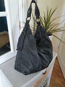 Gap Black soft leather large Tote Satchel Slouch Hobo Shoulder Bag Handbag vgc