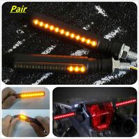 2x Motorcycle Flowing LED Turn Signal Indicator + Amber DRL + Flash Brake Light