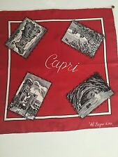 Vintage Red and Black Print Scarf Postcards of the Island of Capri 19 x 19