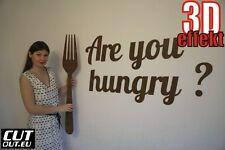 """DEKO SCHRIFTZUG """"Are you hungry ?"""" + XXL Gabel Holz Wanddeko viele farben"""