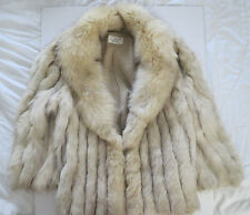 Vintage Stunning Blue Fox Fur Coat Finland Winter Jacket Light Color Womens