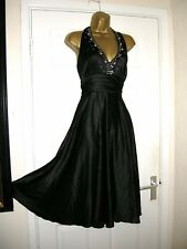 16 BLACK SATIN MIDI DRESS MARILYN HALTERNECK EMBELLISHED SWING PARTY