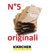 5 Sacchetti filtro carta x Aspiratori Karcher MV2 e WD2 Originali 6.904-322.0