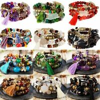 Vintage Tassel Beaded Natural Stone Bracelet Multilayer Charm Jewelry Women Gift