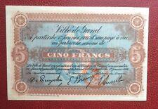 GAND - GENT - Magnifique billet de Nécessité de 5 Francs du 12-03-1917 -- RARE