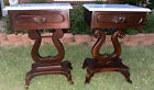 Pair+Antique+HARP+Lyre+Solid+Mahogany+Wood+Marble+Top+End+Accent+Tables
