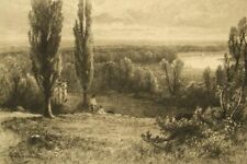 John Fullwood antique signed etching; 'Richmond Hill' 1800's