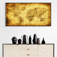 Vintage Silk Canvas Poster Treasure World Map Art Paint Wall Decor No Frame B14