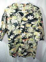 MENS BLACK TAN GREEN 100% COTTON WOODIE ISLAND ALOHA HAWAIIAN SHIRT SIZE XL 50