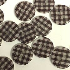 10 x 15mm brown and white gingham check resin buttons, 2 holes and a flat back