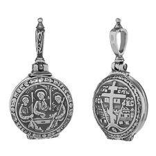 Sterling Silber 925 Orthodoxe Anhänger Hl Dreifaltigkeit Medallion Öffnen 36245